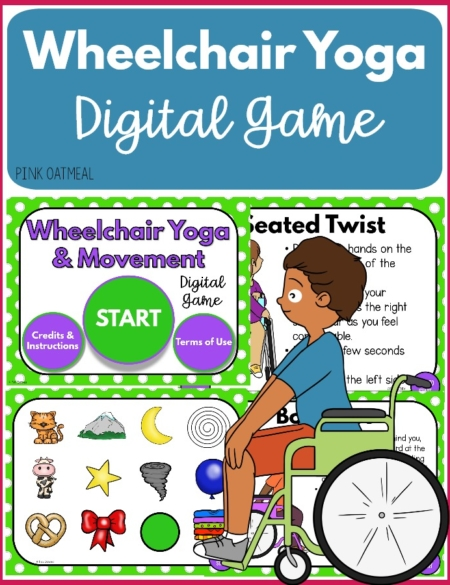 The Wheelchair Yoga and Movement Digital Game encourages fun and novel exercises for children to complete. You can play digitally on your tablet, computer, or interactive whiteboard.