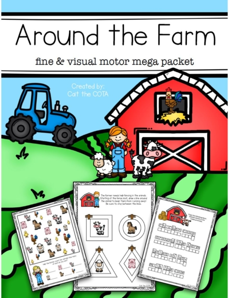 "This fun-filled Farm Themed Fine Motor and Visual Motor Activity packet will have the kids practicing fine motor, gross motor and visual perceptual skills all ""around the farm""."