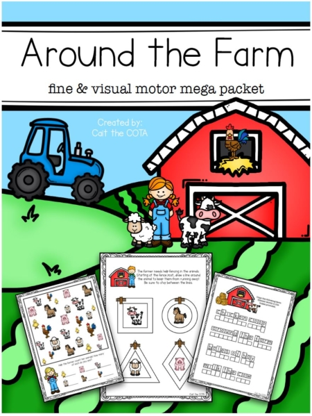 """This fun-filled Farm Themed Fine Motor and Visual Motor Activity packet will have the kids practicing fine motor, gross motor and visual perceptual skills all """"around the farm""""."""