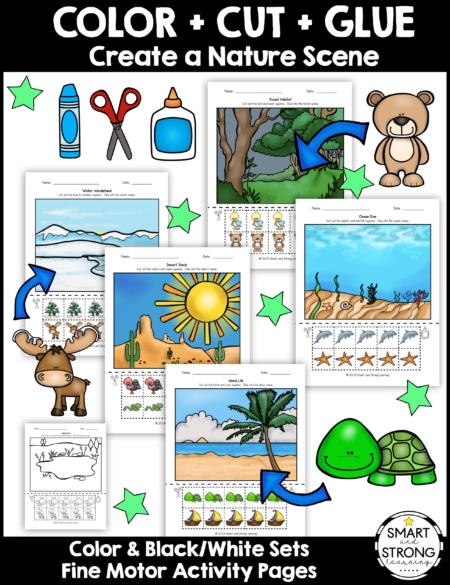 This Color Cut Glue - Create a Nature Scene digital packet includes 16 worksheets to color and cut the squares and paste them to the nature scenes