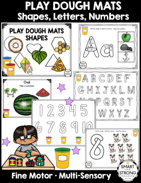 This is a HUGE Play Dough Mats Bundle that uses multisensory ways to learn shapes, letters and numbers. Created by Christine, the OTR behind Smart and Strong Learning, this packet provides a fun, functional way of learning in the classroom, therapy room, or home!