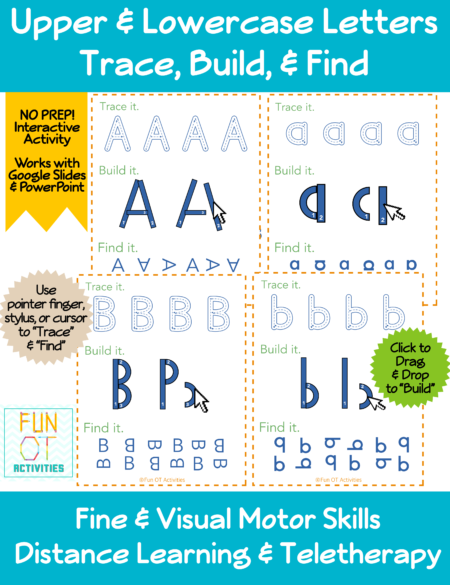 The Interactive Uppercase and Lowercase Letters - Trace, Build, Find is perfect for distance learning, 1:1 schools, and teletherapy. Created by Samantha Chow Tran, M.S., OTR/L, these activities are wonderful to learn and practice writing alphabet letters, both upper and lowercase!