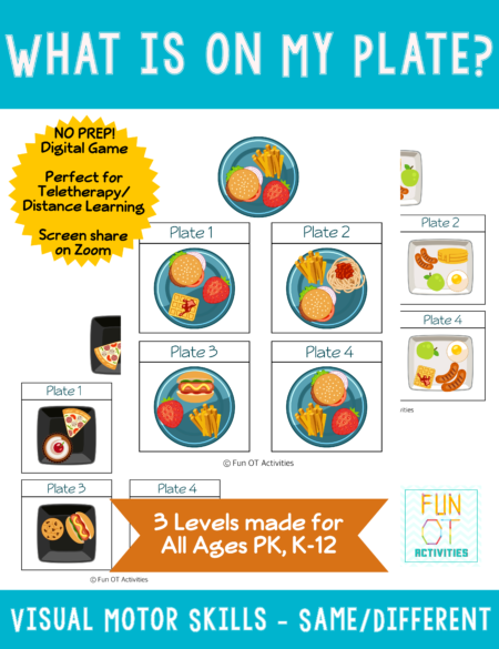 What's On My Plate is a fun, engaging, digital visual motor game created by Samantha Chow Tran, M.S., OTR/L which is perfect for distance learning, 1:1 schools and teletherapy!