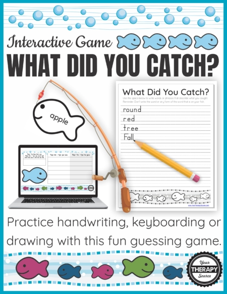 Are you looking for a fun, novel handwriting game for occupational therapy? What Did You Catch? is an interactive handwriting, keyboarding or drawing game that is perfect for distance learning, teletherapy, or in person activity.
