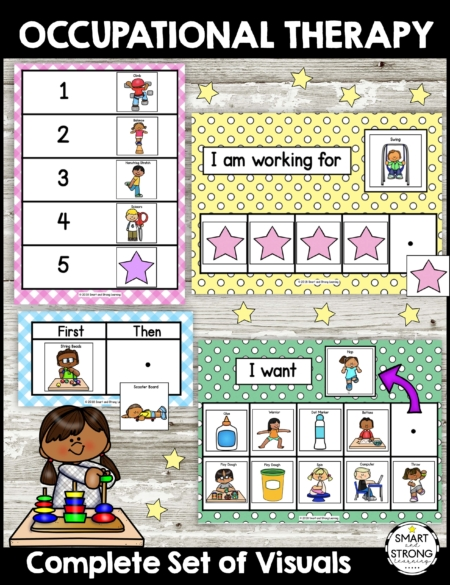 Occupational Therapy - Complete Set of Visuals digital packet includes various visual support boards: First - Then, First - Next - Last, Schedule, Token Board, Choice Board.