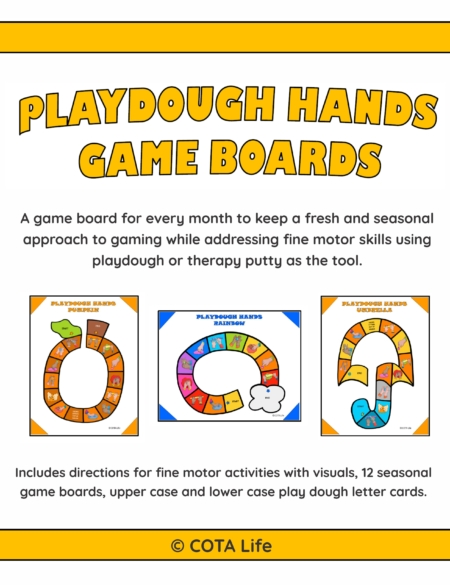 Playdough Board Games digital download includes 12 no-prep games to print and play to encourage fine motor skill development and hand strengthening throughout the year. Also includes BONUS upper case and lower case play dough letter cards!