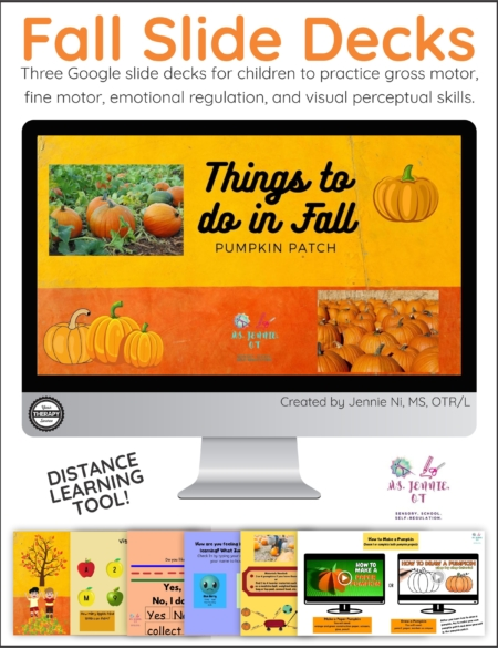 This bundle of three Fall Slide Decks for Occupational Therapy, created by Jennie Ni, MS, OTR/L will help you get started right away!