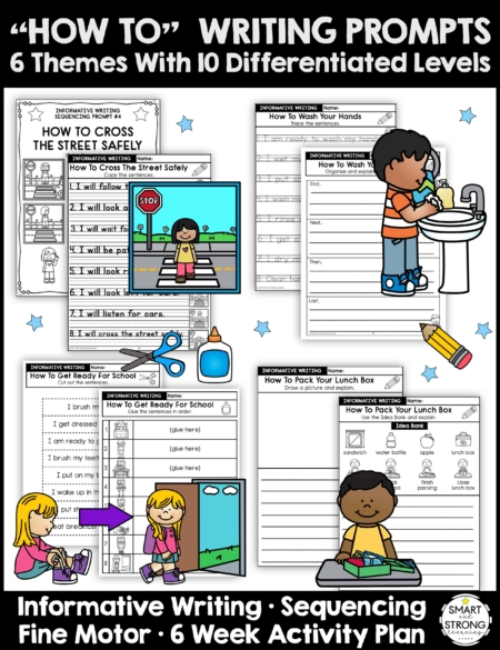 """This packet of life skills writing prompts includes """"HOW TO"""" Writing Prompts with 6 Themes and 10 Differentiated Levels."""