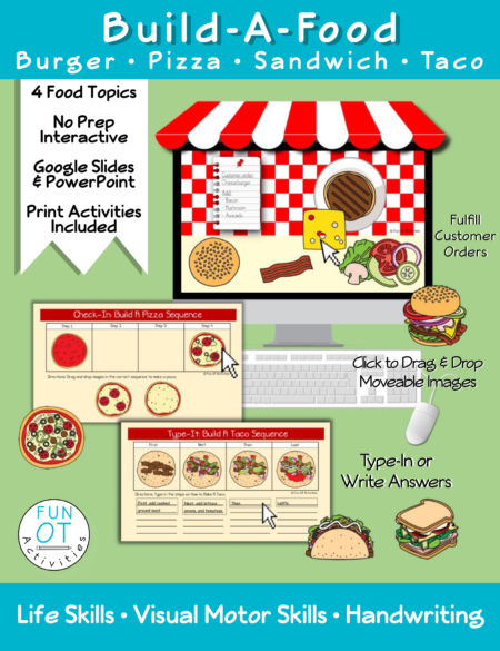 Build A Food is a great interactive life skills activity where children can learn how to make burgers, pizzas, sandwiches, and tacos from a menu all while pretending to work at a restaurant.
