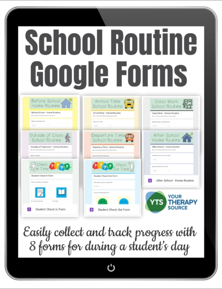 These School Routine Checklists include 8 Google Forms to help collect baseline data and progress monitoring functional skills throughout the school day and at home