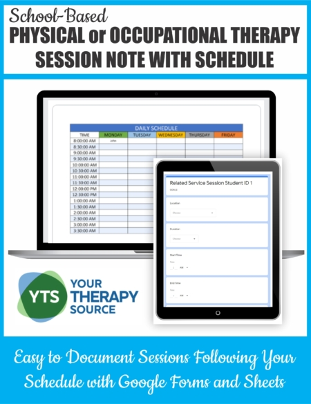 This PT or OT Session Note Google Form with Schedule will help you stay on time AND document using a Google Form and Google Sheet.
