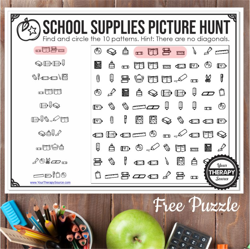 This FREE School Picture Puzzle is a twist on a word search. Instead of having to find words you have to find images in a certain pattern.