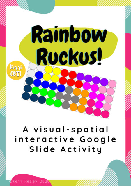 Check out this engaging and interactive visual spatial game, Rainbow Ruckus created by Kerri Healey, COTA.  Can you move the different shapes to complete the puzzles?