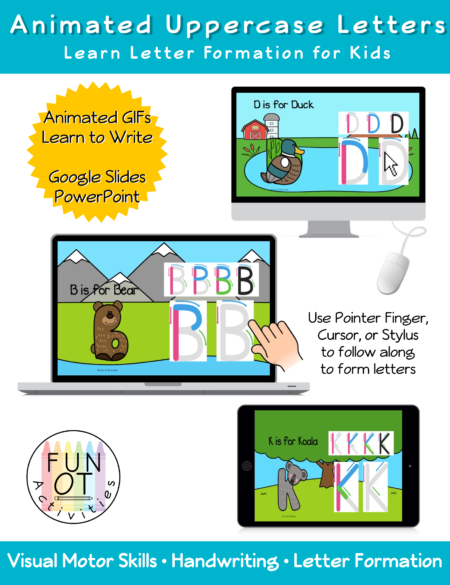 this Animated Upper Case Letters interactive letter formation slide deck has children using their pointer finger, cursor on laptop/computer or stylus pen on a tablet to follow along with Animated GIFs to learn how to write uppercase letters.