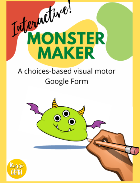 "This Interactive Monster Maker Visual Motor Activity ""Escape Room"" is perfect for your teletherapy session with individuals working on visual motor skills, following directions, and gross motor movements!"