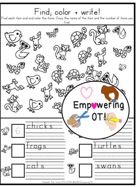 The Find, Color, and Write PDF digital download adds fun and turns up the motivational level for children to practice visual perceptual skills, counting, and handwriting!