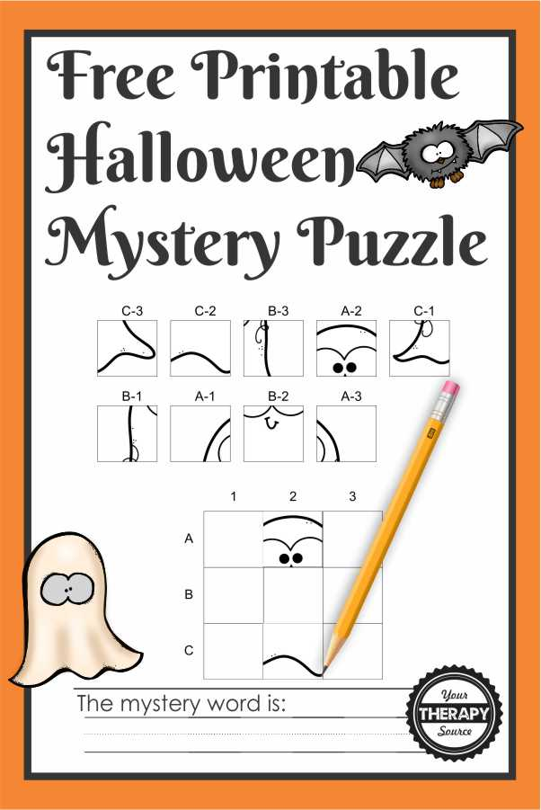 The Halloween Puzzles Printable digital download included 12 mystery puzzles to challenge your student's spatial reasoning, visual closure, visual motor and handwriting skills!
