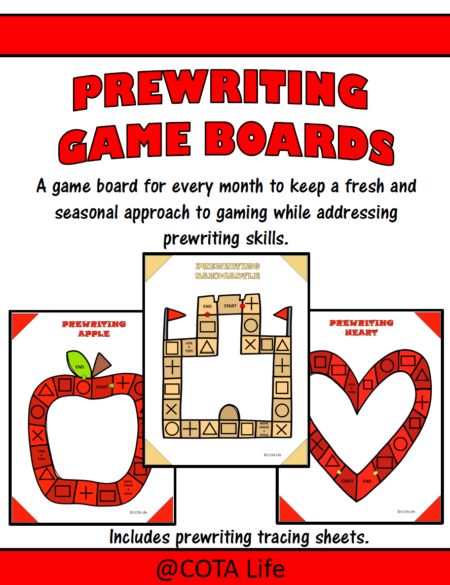 Prewriting Game Boards digital download includes 12 no-prep game boards to print and play to encourage prewriting skills through the year.