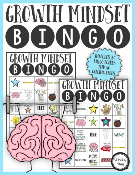 TheGrowth Mindset BingoPDF printable game is so much fun to help reinforce and teach children about developing a growth mindset.