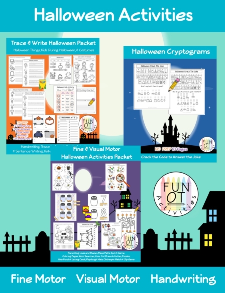 This Halloween Activity Packet is a No-Prep Bundle (Fine Motor, Visual Motor, Bilateral coordination, & Handwriting) that includes over 100 pages to encourage children to practice fine motor, visual motor and handwriting skills all with a Halloween theme.