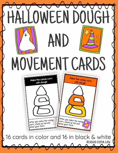 The Halloween Play Dough and Movement Cards are designed for children to engage in the activity of play dough use and body movements with the festive theme of Halloween.
