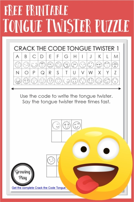 Try this Tongue Twisters for Kids PDF Puzzle Pack. Kids will need to solve the code to learn the tongue twister.