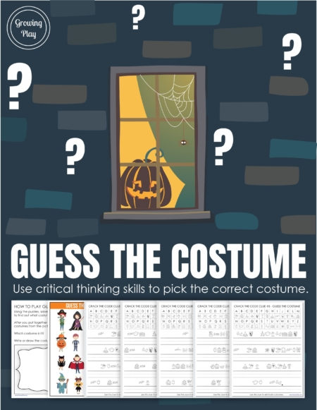 This Guess the Costume Decoding Puzzle includes 5 clues to solve to find out what costume the child is wearing. Perfect for Halloween or anytime of year!