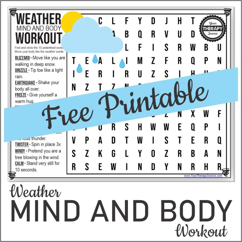 This weather word search puzzle is a mind and body workout created by Your Therapy Source and you can download it for FREE!