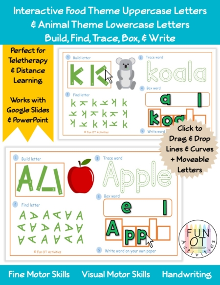 The Interactive Build, Find, Trace, Box, & Write Uppercase Foods & Lowercase Animals digital packet is perfect for distance learning, teletherapy and in-person!