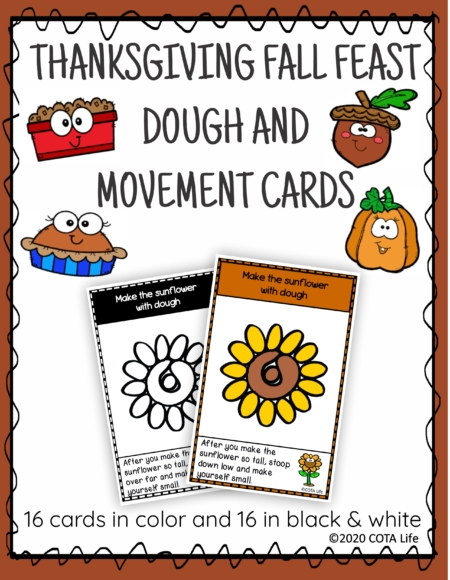 The Thanksgiving Play Dough and Movement Cards are designed for children to engage in the activity of play dough use and body movements with the festive theme of Thanksgiving Fall feasts.