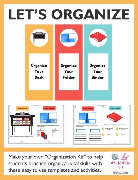 "Teach organizational skills to your students with Let's Organize.  Created by Jennie Ni, MS, OTR/L , the Let's Organize digital PDF document provides you with the templates and activities to create your own ""Organization Kit"" to help students practice organizational skills."