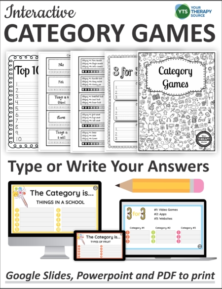 This interactive Category Games for Kids collection can be played on the computer or print it and grab a pencil!