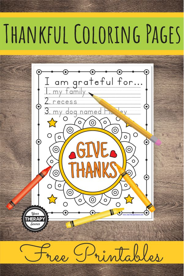 Thankful Coloring Pages And Handwriting Exercise Your Therapy Source