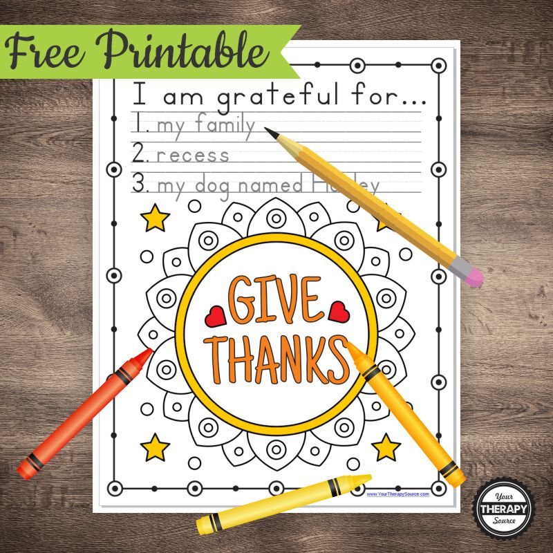 Thankful Coloring Pages And Handwriting Exercise - Your Therapy Source