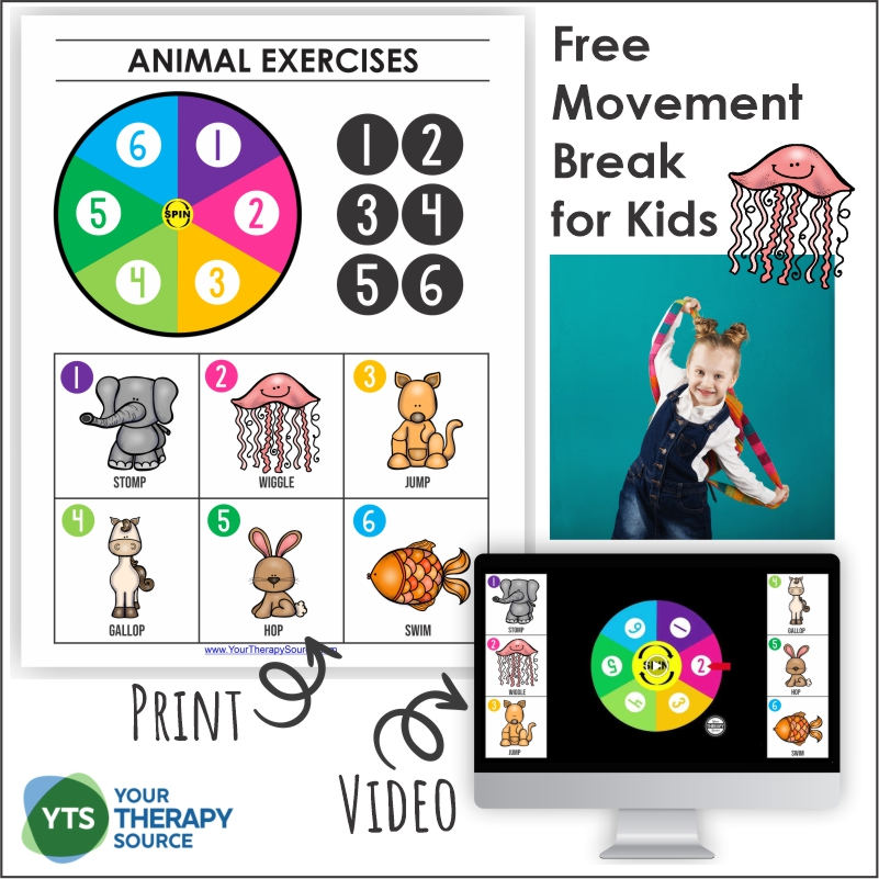 If you are looking for a super easy movement break for kids, look no further than this FREE animal exercise video and printable game.