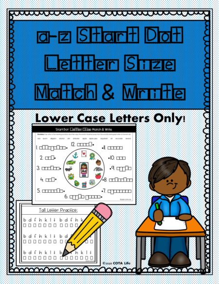 This digital download packet, a to z Start Dot Lowercase Letter Size Match and Write , requires NO PREP and is ready to print and go!