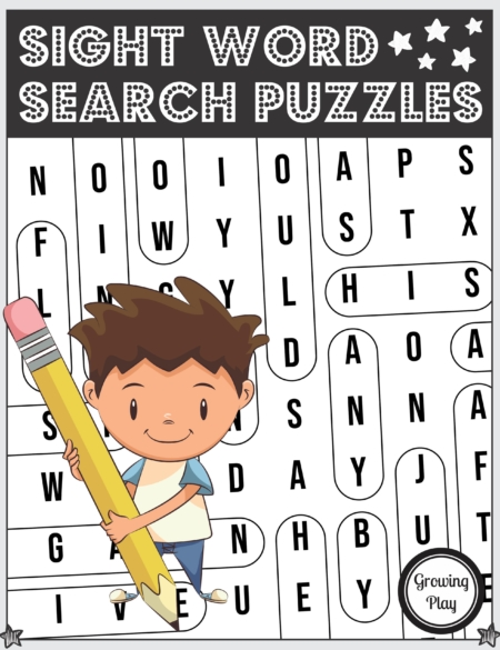 The Sight Word Puzzle Printable packet includes 15 easy word search puzzles to reinforce learning sight words and visual scanning skills.