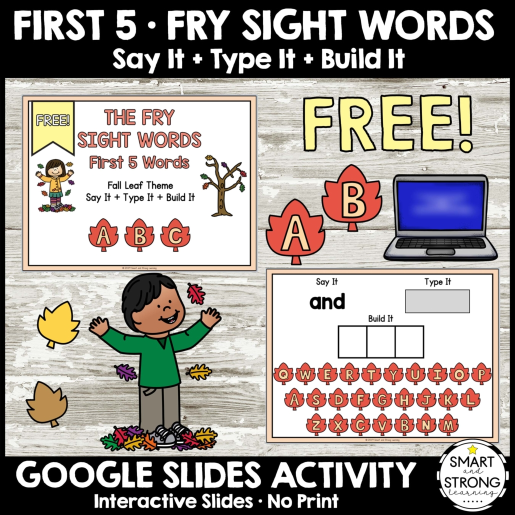 This is an awesome Say It Type It Build It Fall Freebie so you can take a closer look at the Fall Sight Words Say It Type It Build It complete download