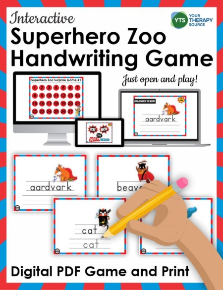 Looking for interactive handwriting ideas to keep your distance learning or in person students motivated? This Superhero Zoo Interactive Handwriting Game can be played on the computer OR print it.