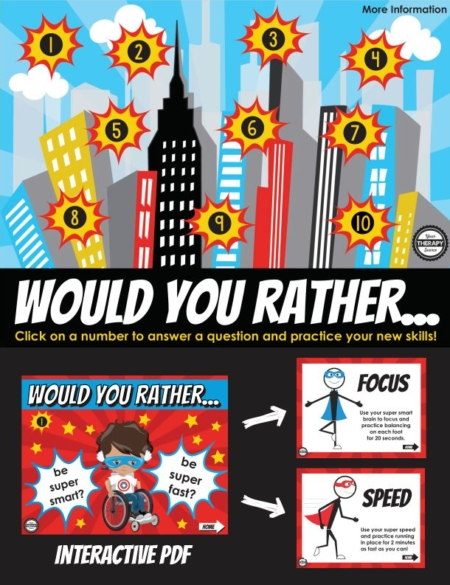 This interactive Superhero Would You Rather Brain Break will be loads of fun and help your students take a brain break! You can click on the answers and perform the exercises based on your answers!
