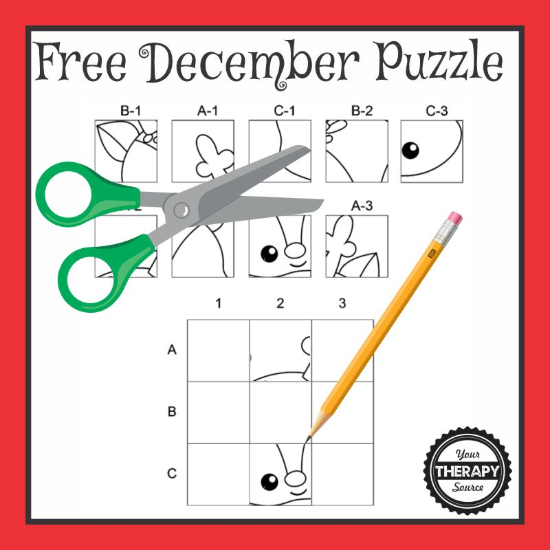 This December cut and paste FREE PDF freebie will challenge your student's fine motor skills, visual perceptual skills and handwriting all with this one page printable.