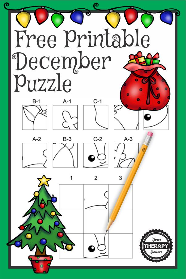 This December puzzle PDF freebie will challenge your student's fine motor skills, visual perceptual skills and handwriting all with this one page printable.