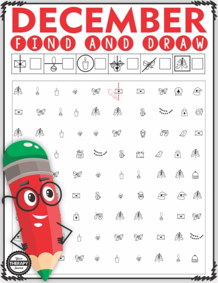 The DecemberVisual Motor Packet includes 10 activities to practice visual discrimination and visual motor skills.