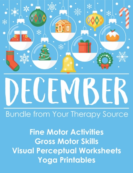 The December Bundle includes 19 digital downloads that encourage fine motor, gross motor, visual perceptual and handwriting skills all with a Holiday theme.