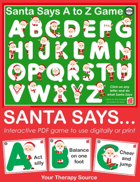 If you are looking for a fun, easy to use, interactive game that you can use digitally or print, check out Santa Says.