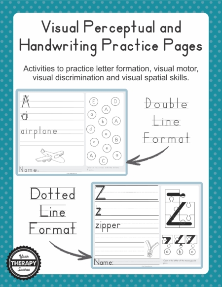 This Visual Motor and Handwriting packet digital download includes activities to practice letter formation and visual perceptual skills – includes double lined and dotted lined.