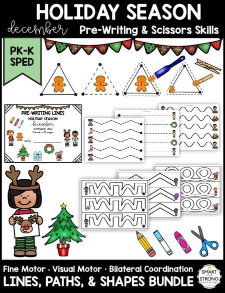 The December Holiday Prewriting and Shapes digital packet includes a wide variety of pre-writing and shape activities to work on foundational fine motor skills.