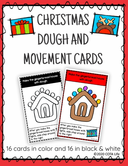 The Christmas Play Dough and Movement Cards are designed for children to engage in the activity of play dough use and body movements with the festive theme of Christmas.
