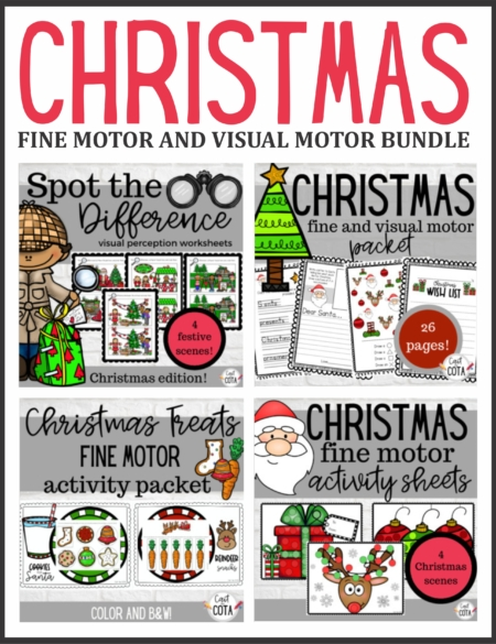 This Christmas Visual Motor and Fine Motor Bundle includes 4 different resources to encourage children to develop their visual motor and fine motor skills during the Christmas season!