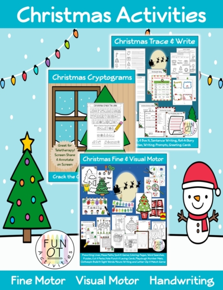 This Christmas Activity Packet is a Low to No Prep Bundle that includes over 140 pages to encourage children to practice fine motor, visual motor, bilateral hand coordination, and handwriting skills all with a Christmas theme.